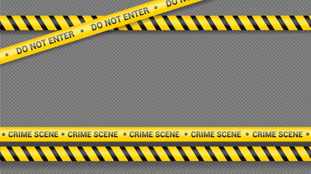Police tape, crime danger line. Caution police lines isolated. Warning tapes. Set of yellow warning ribbons. Vector illustration on white background. Illustration