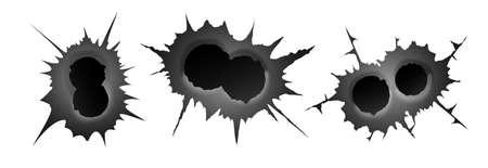 Bullet double hole on white background. set of double realisic metal bullet hole, damage effect. Vector illustration Çizim