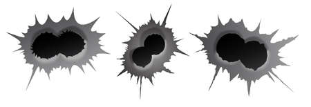 Bullet double hole on white background. set of double realisic metal bullet hole, damage effect. Vector illustration.