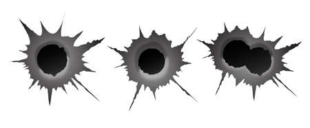 Bullet hole on white background. Realisic metal single and double bullet hole, damage effect. Vector illustration.