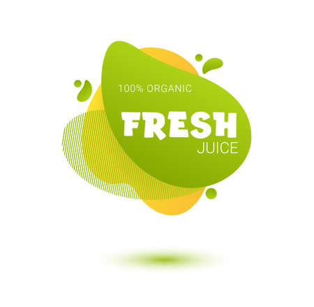 Fresh juice tag. Bright splash shiny stickers, organic emblems, tags and labels. For badges of fresh market, detox, farmers market, eco shop, smoothies drinks, juice cafe, green bar. Çizim