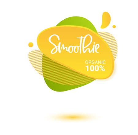 Smoothie vector label. Bright and shine stickers, labels, tags and banners for smoothie. For badges of fresh market, detox, farmers market, eco shop, smoothies drinks, juice cafe, green bar.