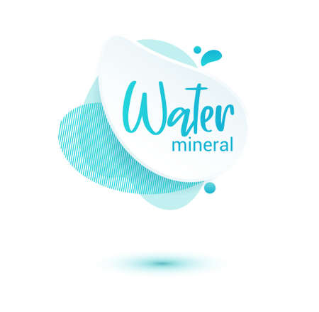 Mineral water tag. Blue label and stikers emblem with drops of water for web and print tag
