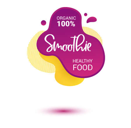 Smoothie vector label. Bright and shine stickers, labels, tags and banners for smoothie. For badges of fresh market, detox, farmers market, eco shop, smoothies drinks, juice cafe, green bar
