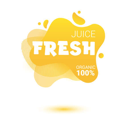 Fresh juice tag. Bright splash shiny stickers, organic emblems, tags and labels. For badges of fresh market, detox, farmers market, eco shop, smoothies drinks, juice cafe, green bar