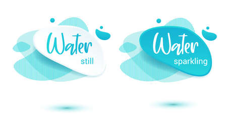 Mineral water tag. Blue label and stikers emblem with drops of water for web and print tag.Still and sparkling water label set. Vector illustration for you design