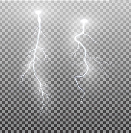 White realistic lightning. Thunder spark light on transparent background. Illuminated realistic path of thunder and many sparks. Bright curved line.