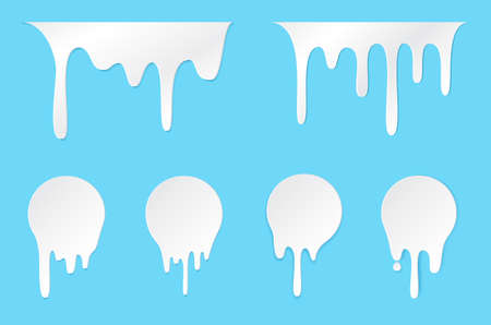 Melt drip stickers or circle milk labels. Vector liquid drops icons for graffiti blob stickers. White liquid or melted chocolate drips, milk, current paint.