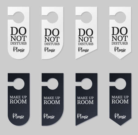 Door hangers for hotel room. Set of white and black label hanger with text for hotel or resort. Template mockup with text Do not disturb and Make up room. Vector illustration for promotion decoration,