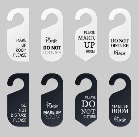 Door hangers for hotel room. Set of white and black label hanger with text for hotel or resort. Template mockup with text Do not disturb and Make up room. Vector illustration for promotion decoration. Vettoriali