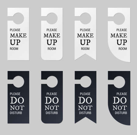 Door hangers for hotel room. Set of white and black label hanger with text for hotel or resort. Template, mockup with text Do not disturb and Make up room. Vector illustration for promotion, sale, decoration, covering