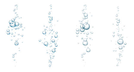 Blue fizzy bubbles. Sparkles underwater stream in water, sea, aquarium. Fizzy pop and effervescent drink. Abstract fresh soda bubbles. Vector illustration.