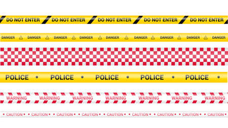 Police tape, crime danger line. Caution police lines isolated. Warning barricade tapes. Set of warning ribbons. Vector illustration on white background.