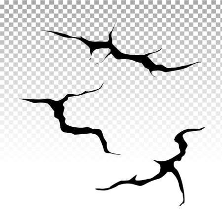 Ground cracks set. Earthquake and ground cracks, hole effect, craquelure and damaged wall texture. Vector illustrations earthquake, crash, destruction. Stock Illustratie