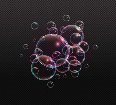 Bath foam soap with neon bubbles isolated vector illustration on transparent background. Colorful cloud of blowing bubbles and soapy foam.
