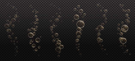 Gold fizzy bubbles. Sparkles champagne. Fizzy pop and effervescent drink. Abstract fresh soda and air bubbles, oxygen, champagne crystal. Vector illustration on black transparent background.