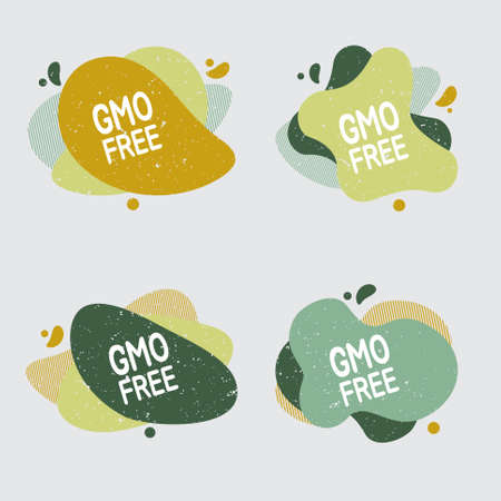 Gmo free icon set. Food badge contains no gmo label for healthy food product package. Vector signs for packaging design, cafe, restaurant badges, tags.