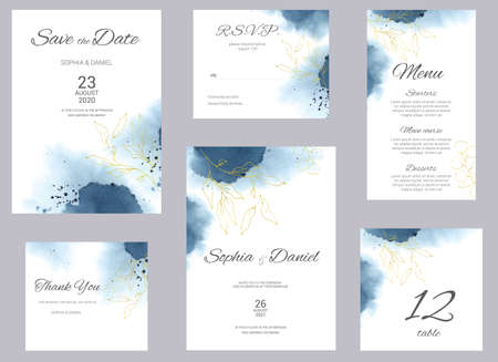 Watercolor wedding invitation cards. Floral poster, invite. Elegant wedding invitation with watercolor splash and gold floral elements.