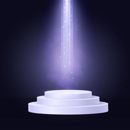 Cylinder podium scene, winner pedestal. White cylinder template for showroom podium scene with spotlight. Bright lighting with violet spotlights of the stage on transparent background. Ilustracja