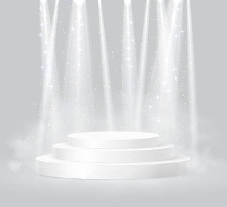 Cylinder podium scene, winner pedestal. White cylinder template for showroom podium scene with spotlight. Bright lighting with spotlights of the stage on grey background.