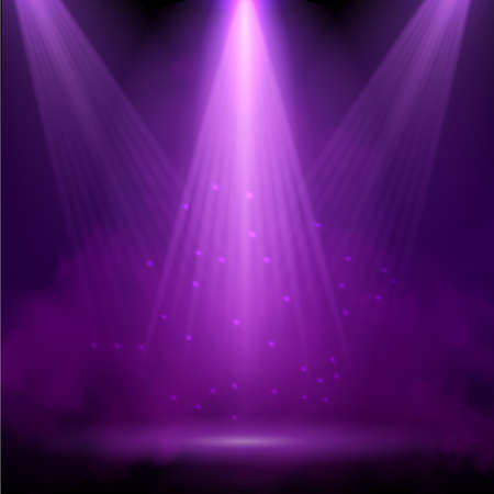 Purple spotlight. Bright lighting with spotlights of the stage with purple ducst on transparent background.