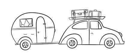 Sketch trailer for camping tourism with retro car, doodle set of
