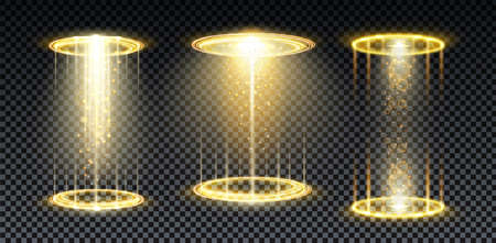 Gold hologram portal. Magic fantasy portal. Magic circle teleport podium with hologram effect. Vector gold glow rays with sparks on transparent background.