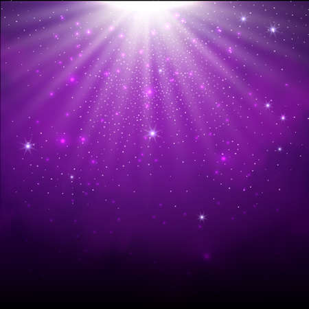 Purple spotlight. Bright lighting with spotlights of the stage with purple dust on dark background.