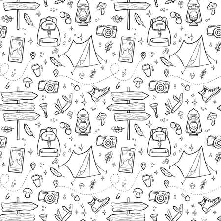 Hiking and camping seamless pattern with travel elements. Seamless pattern for design, posters, backgrounds Hiking, travel and camping theme. Tent, sing, campfire, map, camera, binoculars in line style
