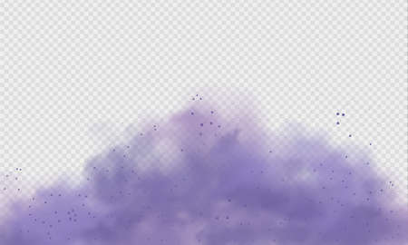 Purple dust or fog. Abstract purple powder explosion with particles. Violet smoke or dust isolated on light transparent background. Abstract mystical gas. Vector illustration. Ilustración de vector