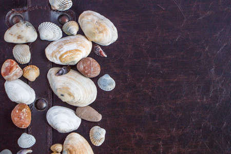 A composition of a sea stones and seashells, peace of the beach on the old chest, the summer will come, dreams of the sea Stock fotó