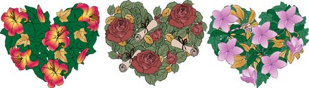 Flower hearts with lilies, roses, magnolias with gold and green leaves Zdjęcie Seryjne - 133501840