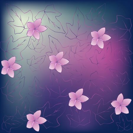 Romantic and elegant wallpaper in purple-pink color with magnolia flowers and ivy leaves Zdjęcie Seryjne - 133501842