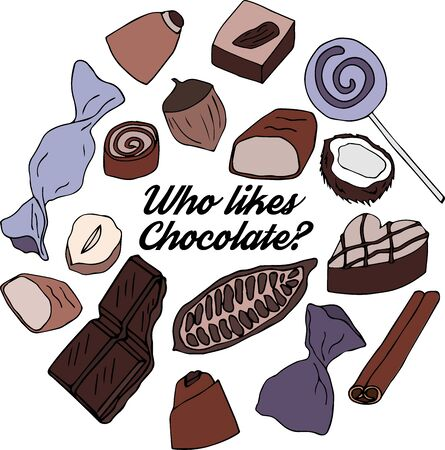 Chocolate candies. chocolate, cocoa, coconut, hazelnut. Set of elements for design