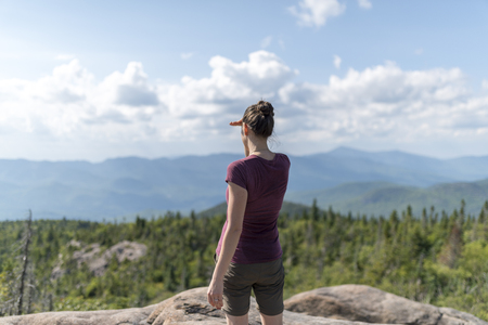 hiking and contemplating in the Adirondack Mountains in New York Foto de archivo