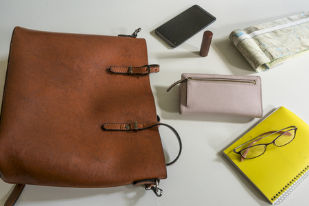 women's various purse contents on a white background