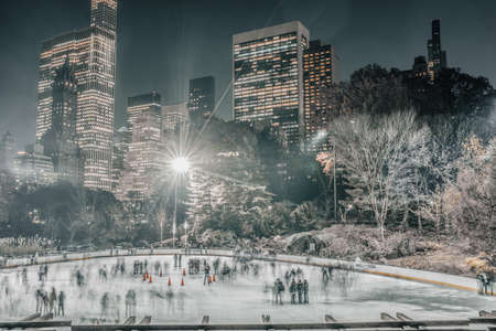 Central Park Ice skating rink long exposure photograph