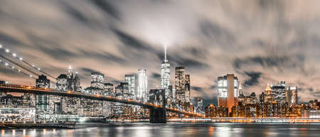 Brooklyn Bridge long exposure with downtown Manhattan in view taken from Dumbo, Brooklyn NY Stock Photo