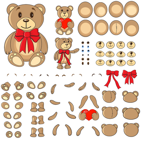body painting: Applique, body parts of a bear in the vector EPS