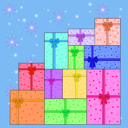 pile: pile of colorful gifts vector