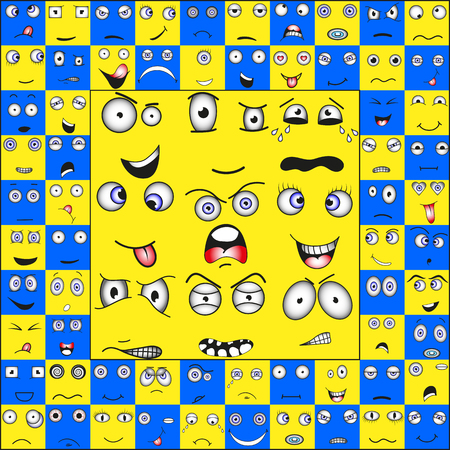 Collection of emoticons in the square and the circle, vector EPS Illustration