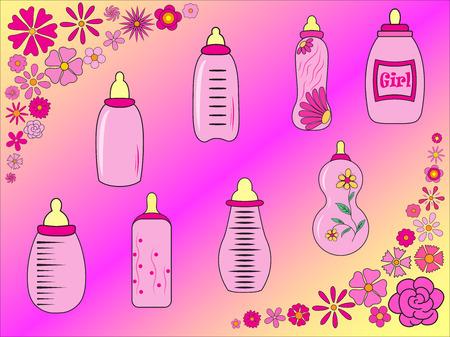 teteros: un conjunto de botellas de beb� para la muchacha en el vector EPS 10