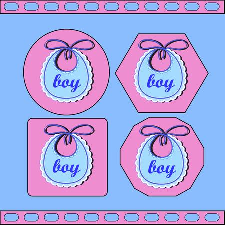 babero: babero de bebé para el muchacho Vectores