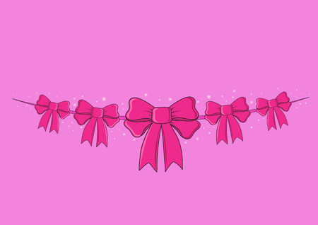 christmas pink: Greeting card with bow Illustration