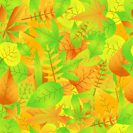Autumn seamless pattern with leaves vector EPS 10.
