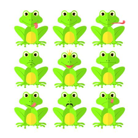 frog set of Flat style on white background vector isolated EPS 10.
