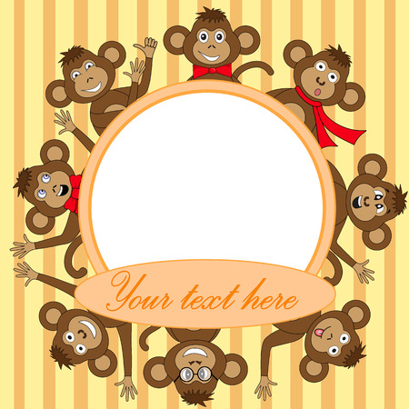 Frame with monkey in vector.
