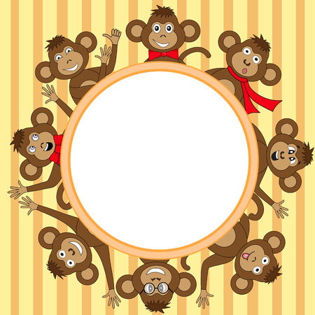 Frame with monkey in vector. Vektorové ilustrace
