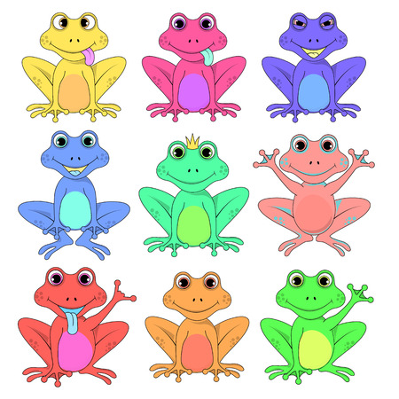 frog a set of different flowers isolated vector EPS 10. Illustration