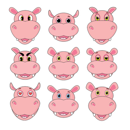 gloomy: Hippo set of heads with different emotions isolated on white background in vector. Illustration